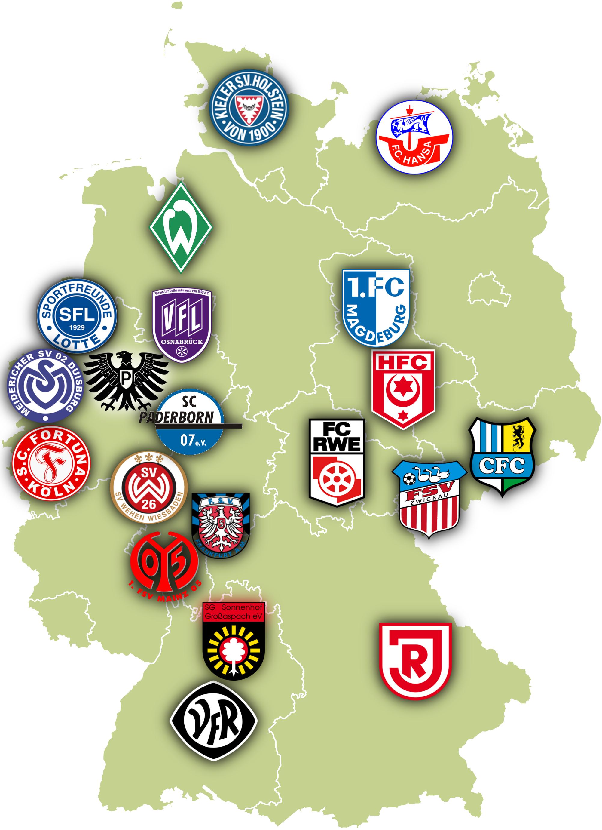 Landkarte 3 Liga Alle Vereine Und Fussball Stadien